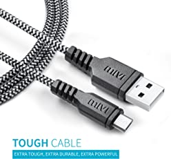 Mivi 1m Long Nylon Braided Tough Micro USB Cable with 2.4 A Charging Speed for Xiaomi,Samsung, Oppo, Vivo, smartphones and Tablets(Black)