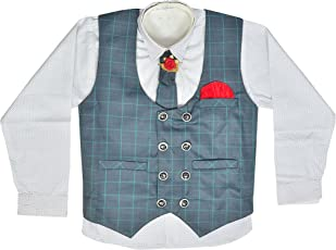 Zolario Boy's Waistcoat Cotton Shirt,Pant and Tie Set