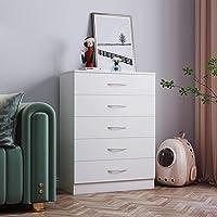 Panana Table de Chevet Commode Meuble de Rangement en Bois avec 5 Tiroirs sur Salon, Chambre, Bureau, 67 x 33 x 89 cm…