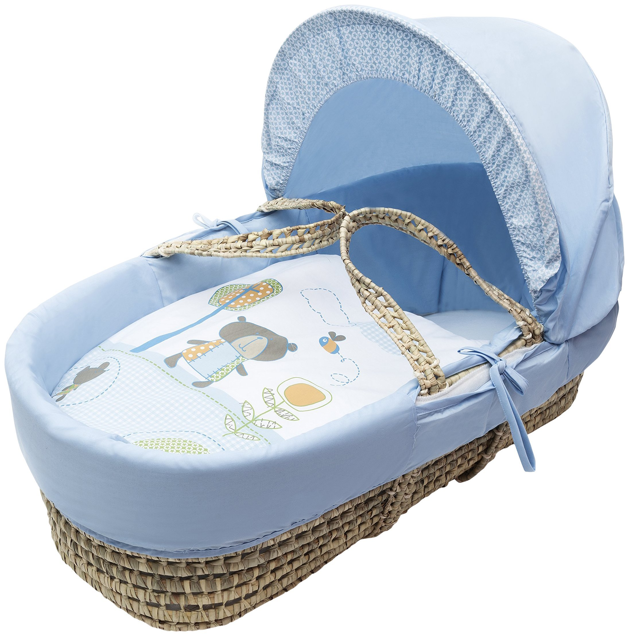 Kinder Valley Tiny Ted Moses Basket_Blue  Suitable from new-born to 6 months or up to 9kg. This Tiny Ted bedding is made from easy care poly-cotton. Washable, water resistant and breathable mattress. 1