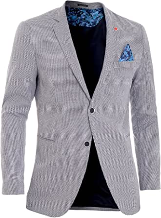 D&R Fashion Men's Blazer Jacket Casual Formal Herringbone Check UK Size Cotton Regular FIT
