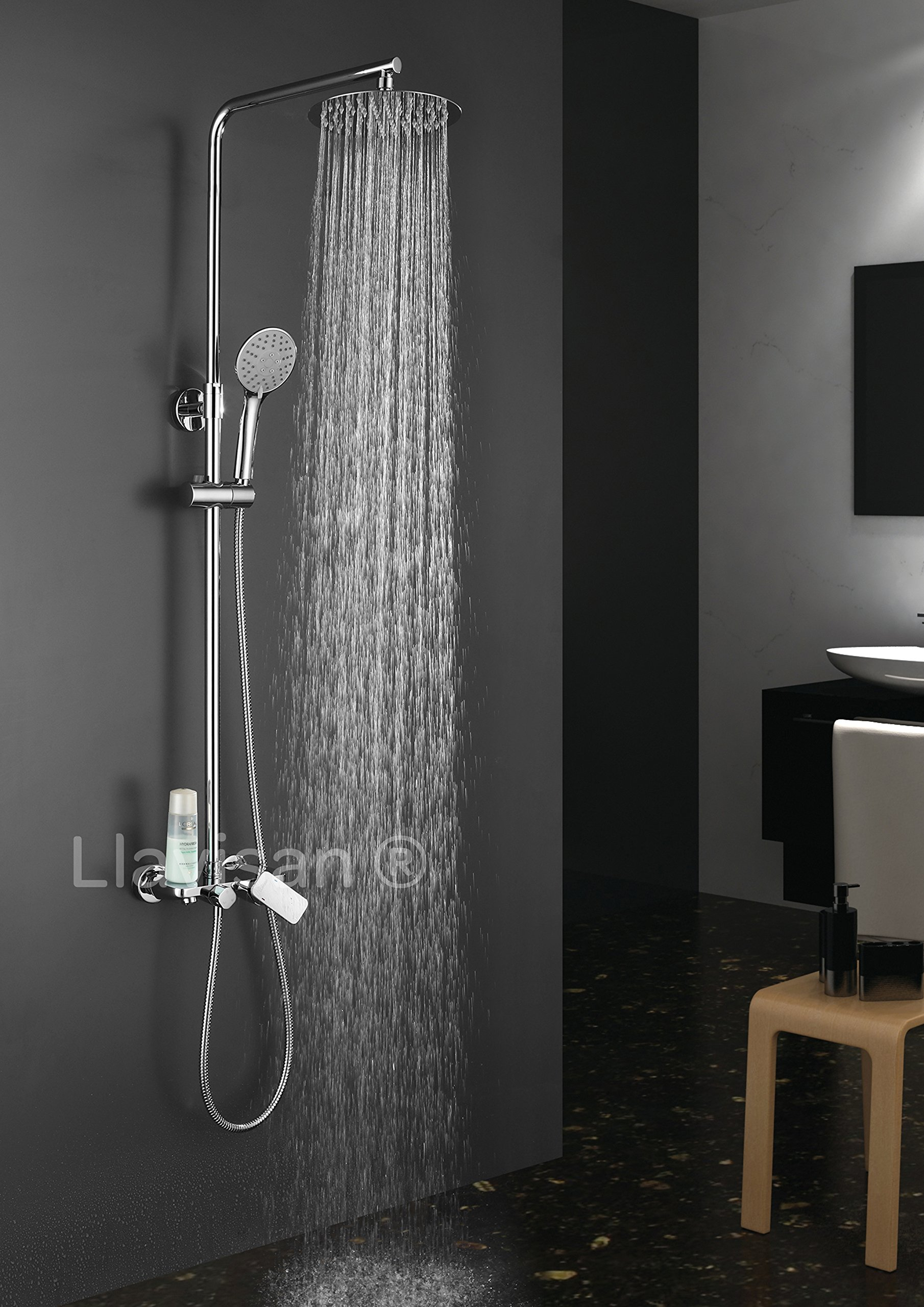 Conjunto de ducha monomando dual ROUND. 3 vías de salida: maneral REDONDO, rociador REDONDO y grifo de bañera. Incluye columna de ducha con tubo regulable.