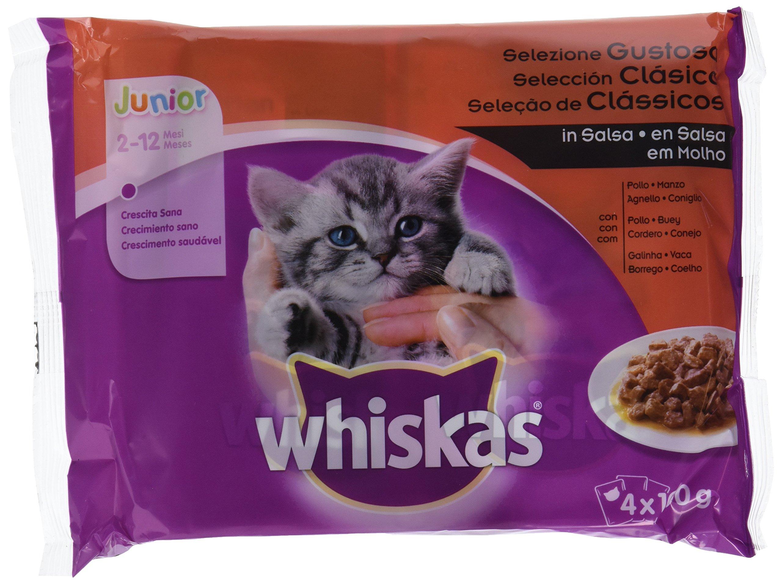 Whiskas Multipack de 4 bolsitas de 100 g de selección de carnes para gatos junior (Pack de 13)