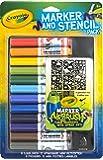 Crayola Marker and Stencil Pack Lot DE 12 feutres Multicolores et pochoirs pour Enfants à partir de 6 Ans jusqu'à 12 Ans