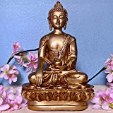 Global Grabbers Sitting Idol Statue Showpiece for Home Decoration Decor Items and Gifting (Golden-28CM)