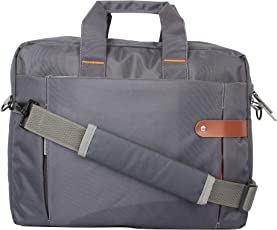 The Blue Pink Polyester 16 Inches Grey Laptop Bag