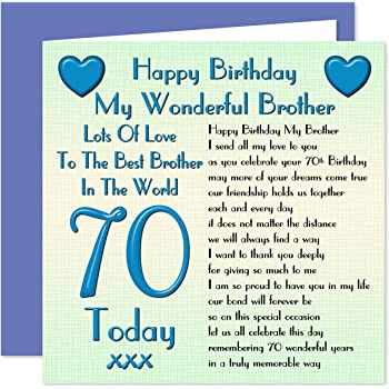 Brother 70th Happy Birthday Card