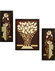 Indianara 3 Pc Set of Flower (995) Paintings Without Glass 5.2 X 12.5, 9.5 X 12.5, 5.2 X 12.5 Inch
