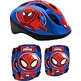 STAMP - Helm met instelbare taille-instellingen + elleboog en kniebeschermers - Spiderman