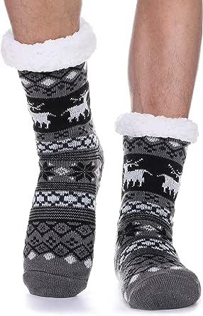 ProEtrade Calzini da pantofola sfocati da uomo Calzini natalizi con fodera in pile Calzini invernali morbidi con pinze