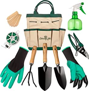 Lebensfrohh™ Garden Tool Set ¦ 9 PIECE Gardening Kit With 4 Hand Tools, Durable Tote Storage Bag, Spray Bottle, Plant Labels, Claw Gloves ¦ Carbon Steel Heads&Ergonomic Handles ¦ Gift for Men&Women