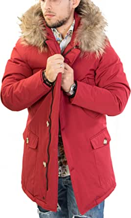 Antony Morale Giubbotto Parka Uomo Invernale Colori (Nero, Rosso, Blu) con Pelliccia Vera Volpe Removibile 3 Colori Disponibili Copia Wool ARTIK Parka