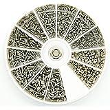 PROtastic Kit di viti e bulloni in acciaio inox, 600 pezzi assortiti: M1, M1.2, M1.4, M1.6 - Ottimo per occhiali e orologi