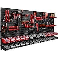 178 x 78 cm - Étagère murale - 30 bacs de rangement - Couvercle - Boîte à outils empilable - Pour atelier