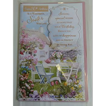 Happy 80th Birthday To A Wonderful Sister With Love 80 Eighty Card Country Cottage