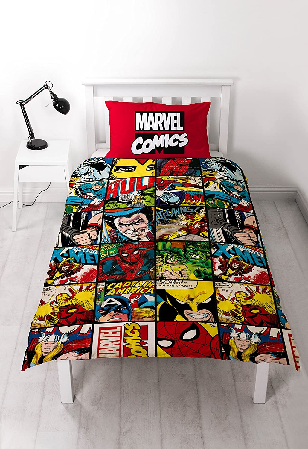 Disney Marvel Comics Defenders Single Rotary Duvet Set: Amazon.co ... : marvel quilt cover - Adamdwight.com