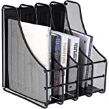 DAHSHA 4 Compartment Vertical Sorter File Desk Organiser Book Organizer Document Holder Metal Tray for Office and Home 35 x 2