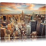skyline van New York CityFoto Canvas   Maat: 120x80 cm   Wanddecoraties   Kunstdruk   Volledig gemonteerd