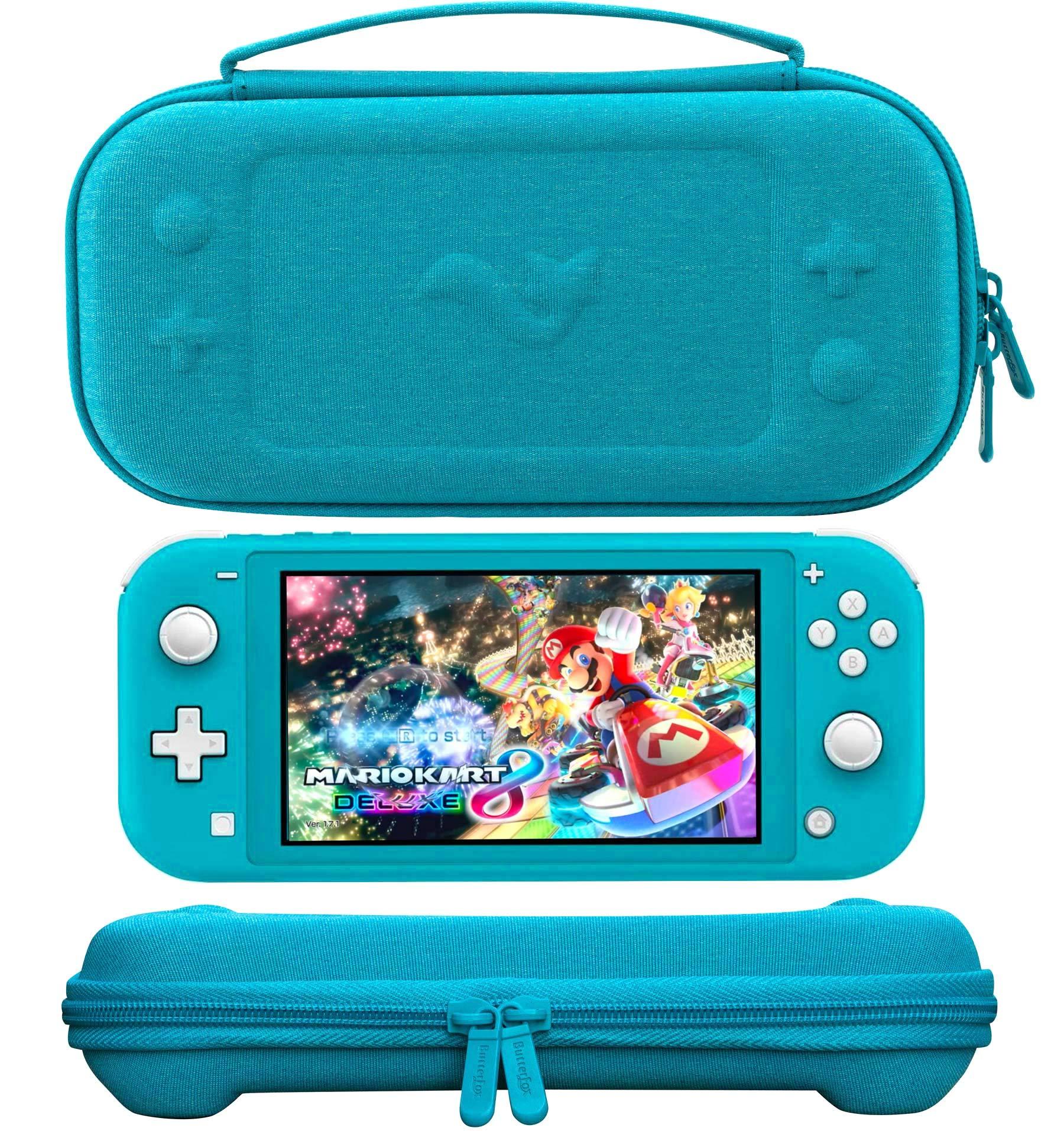 ButterFox Housse de Transport pour Nintendo Switch Lite avec 19 Jeux et 2 emplacements pour Cartes Micro SD Turquoise