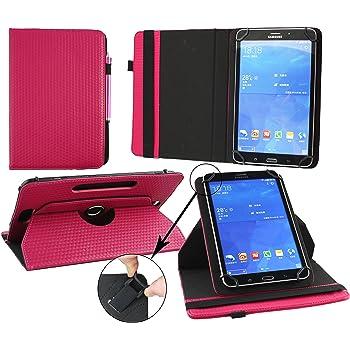 Emartbuy® Wind Tab 8 4G 8 Pollice Tablet Universale (7-8 Pollice) Imbottito Design Dark Rosa 360° Rotante Folio Wallet Custodia Case Cover + Rosa Stilo