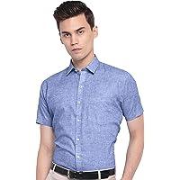 Arihant GHPC Plain Solid Cotton Linen Half Sleeves Regular Fit Formal Shirt for Men