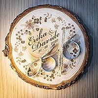 Porta fedi su fetta di legno di cedro 10/11 cm, portafedi personalizzato per matrimonio o altro evento speciale…
