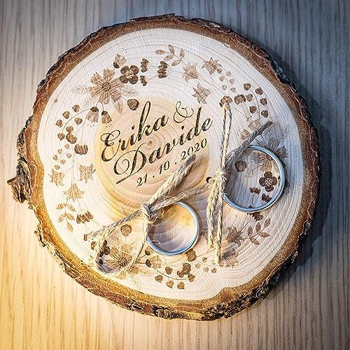 Porta fedi su fetta di legno di cedro 10/11 cm, portafedi personalizzato per matrimonio o altro evento speciale anniversario, fedi nuziali