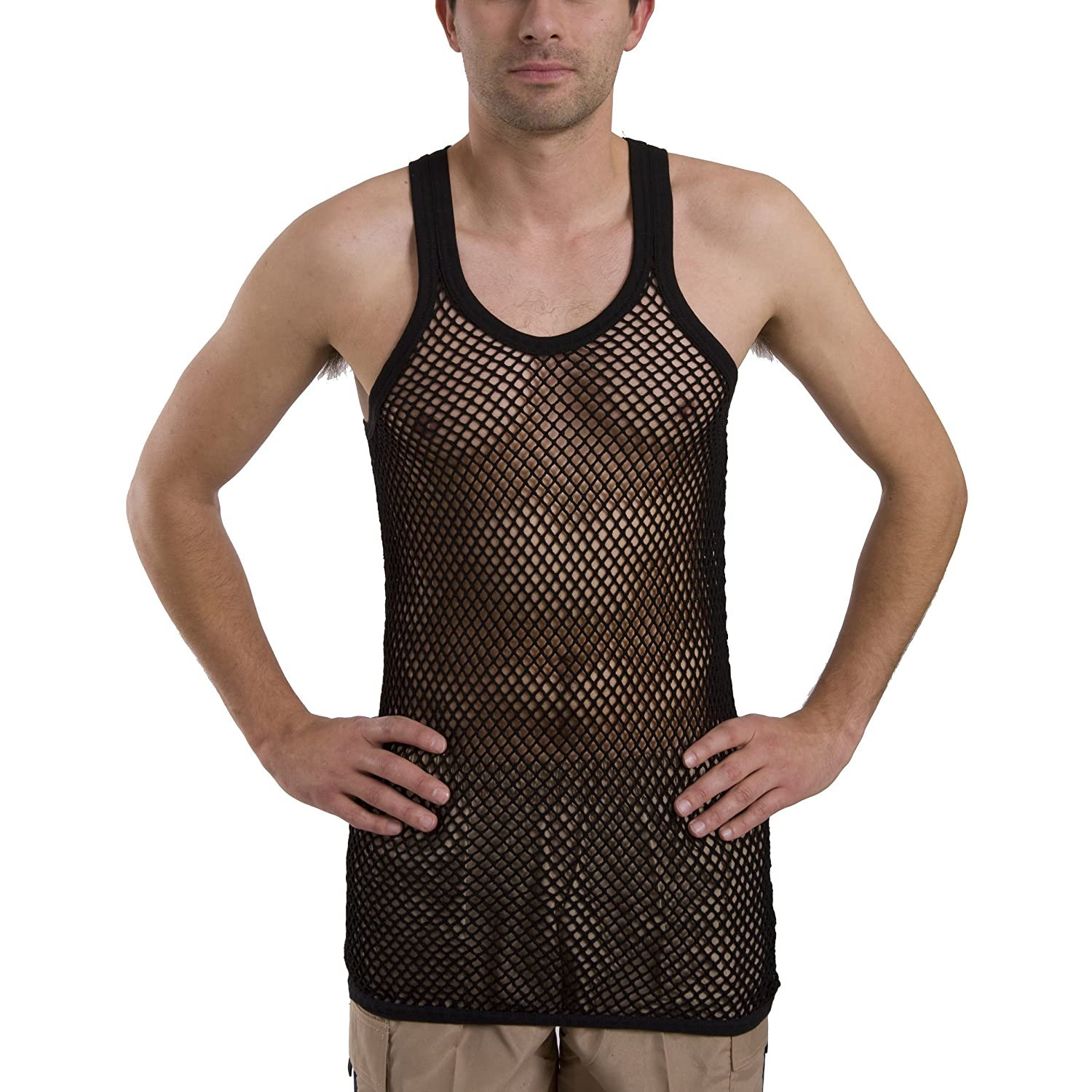 Mens 100% Cotton Fishnet Mesh Hole String Muscle Singlet ...