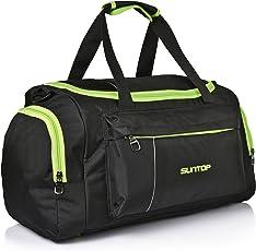 Suntop Nylon 40 Ltr Black & Neon Green Travel Duffles
