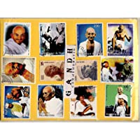GOLD MINT Mahatma Gandhi - Nehru 10 Different Large Commemorative India and Foreign Mint Cancelled CTO Rare World Stamps Set