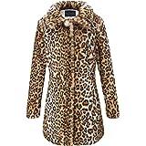 Bellivera Estampado de Leopardo del Abrigo de Piel sintética de Las Mujeres, Invierno Mullido de Outwear Caliente