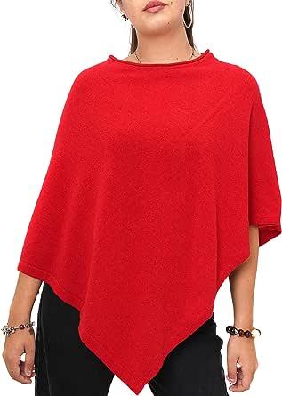 Fantasie Terrene, Poncho Cashmere Donna, Fatto a Maglia in Filato 95% Cashmere Riciclato di Alta qualità. Made in Italy. Colore Rosso.