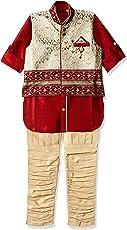 AJ DEZINES Boys Kurta Pyjama Waistcoat Set (636_Maroon_7_Maroon_7-8 Years)