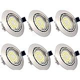 Spots LED Encastrables Orientables Dimmables, ampoules 6 x 6W incluses, GU10, Blanc Chaud 3000K, 230V, IP23, éclairage plafon