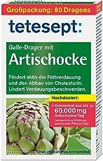 tetesept Galle-Dragee mit Artischocke – Dragees mit Artischockenextrakt - fördert die Fettverdauung und hilft beim Cholesterin Abbau – 1 x 80 Stück [pflanzliches Arzneimittel]