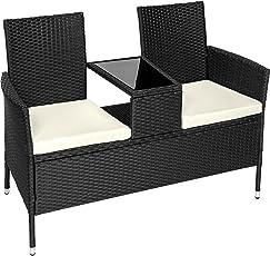 TecTake Sitzbank mit Tisch Poly Rattan Gartenbank Gartensofa inkl. Sitzkissen - diverse Farben -