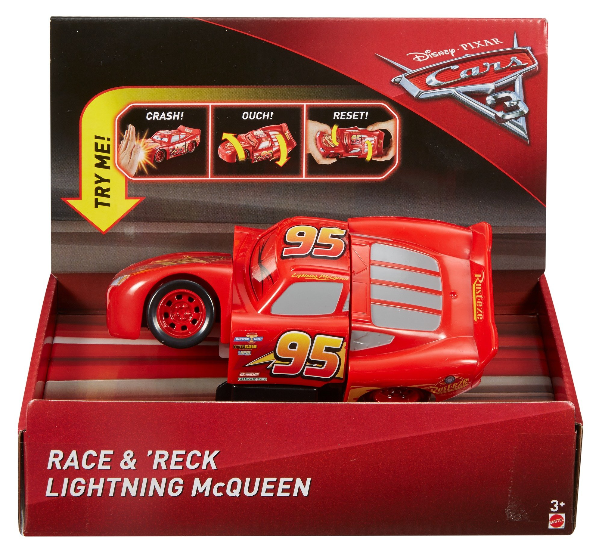 Disney DYW39 Pixar Cars 3 Race and Reck Lightning McQueen Vehicle Disney New Disney Pixar Cars 3 Twisted Crashers vehicle.  His body twists and his eyes change after the crash!  Restore him to his former; pre smash glory by simply twisting the car back into place! 4