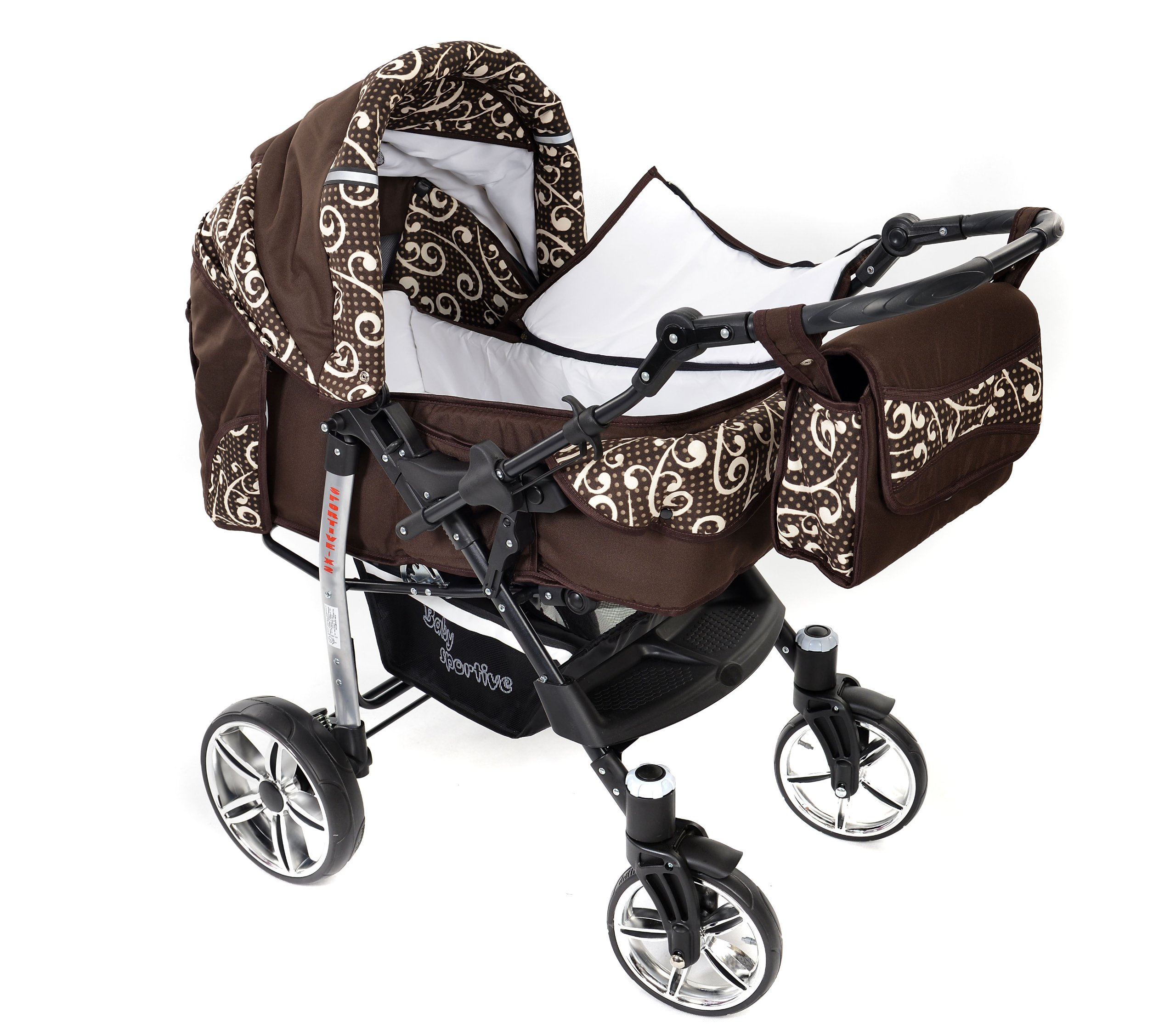 Sportive X2, 3-in-1 Travel System incl. Baby Pram with Swivel Wheels, Car Seat, Pushchair & Accessories (3-in-1 Travel System, Brown & Wawy Lines)  3 in 1 Travel System All in One Set - Pram, Car Carrier Seat and Sport Buggy + Accessories: carrier bag, rain protection, mosquito net, changing mat, removable bottle holder and removable tray for your child's bits and pieces Suitable from birth, Easy Quick Folding System; Large storage basket; Turnable handle bar that allows to face or rear the drive direction; Quick release rear wheels for easy cleaning after muddy walks Front lockable 360o swivel wheels for manoeuvrability , Small sized when folded, fits into many small car trunks, Carry-cot with a removable hood, Reflective elements for better visibility 8