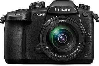 Panasonic Lumix DC-GH5MEG-K Systemkamera (20 Megapixel, DUAL IS Bildstabilisator, 4K60p Videoaufname, 4K & 6K Serienbilder, Hybrid Kontrast AF, wetterfestes Magnesiumgehäuse, mit Objektiv Lumix G VARIO 12-60mm/F3.5-5.6 ASPH) Schwarz
