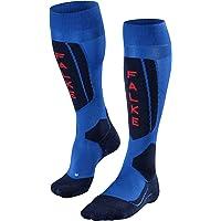 FALKE Men's SK5 Skiing Socks Silk Black Blue Orange White Long Ski Sock With Thin Padding Cushioned Sole Quick Dry…