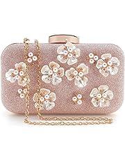 PARADOX (LABEL) Womens Glitter Floral Rhinestone Beaded Evening Bags Wedding Clutch Purse