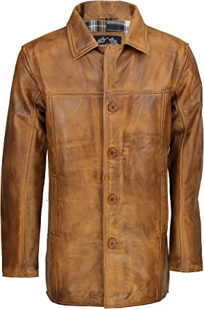 XPOSED Mens Real Genuine Leather Tan Brown Vintage 4 Button Classic Reefer Jacket Coat