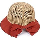 K·K Cappelli alla Pescatora Donna, Cappelli da Sole Pieghevole Cappello Parasole di Paglia da Donna Elegante Cappello Tesa La