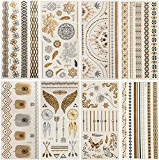 Leegoal 8 Sheets Temporary Tattoos Metallic Gold & Silver Waterproof Sweatproof Flash Temporary Jewellery Tattoos for Festival Beaches Party Weddings Festival Flash Tattoos for Girls Women Teens