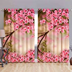 B7 Creations 1-Piece Polyester Whiteout Floral Digital Print Curtain
