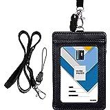 Porte-Badge, Wisdompro Double Face PU En Cuir PU Porte-Cartes Avec Badge Etui Portefeuille Avec Lanière/Sangle De Cou Détacha