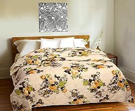 Divine Casa Double Bed Cotton Comforter 150 GSM (90x100 Inches, Orange)