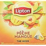 Lipton Thé Noir Pêche & Mangue, Certifié Label Rainforest Alliance 20 Sachets