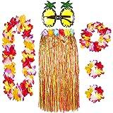 Juego de 6 faldas hawaianas de hierba con guirnaldas Lei y gafas de piña elegidas entre paja o falda múltiple, para verano, p