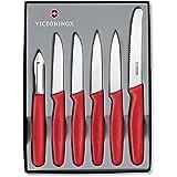 Victorinox 5.1111.6 Set de 6 Couteau d'Office, Acier Inoxydable, Rouge, 30 x 5 x 5 cm